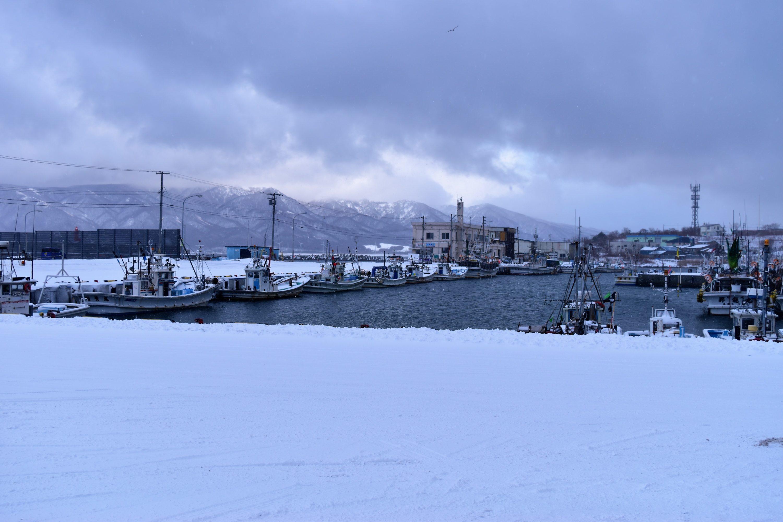 雪景色の寿都漁港