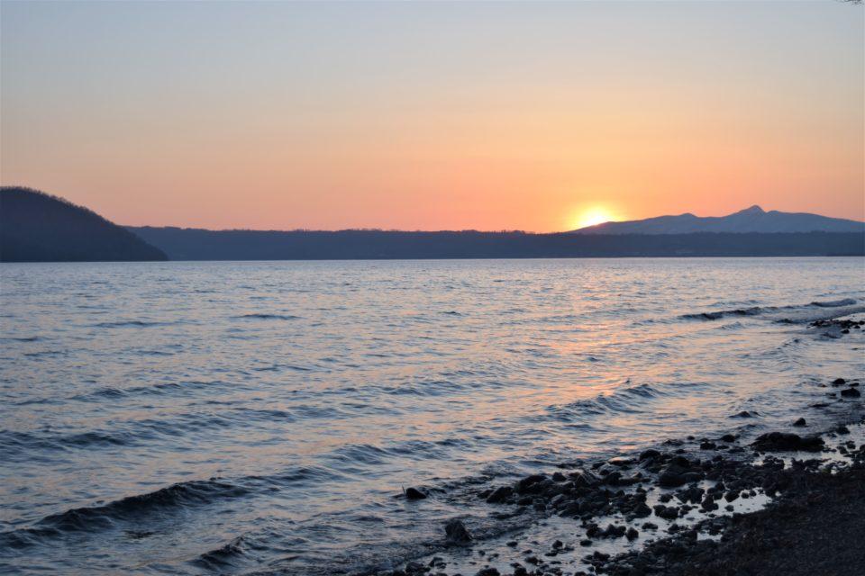 仲洞爺キャンプ場から見る夕日