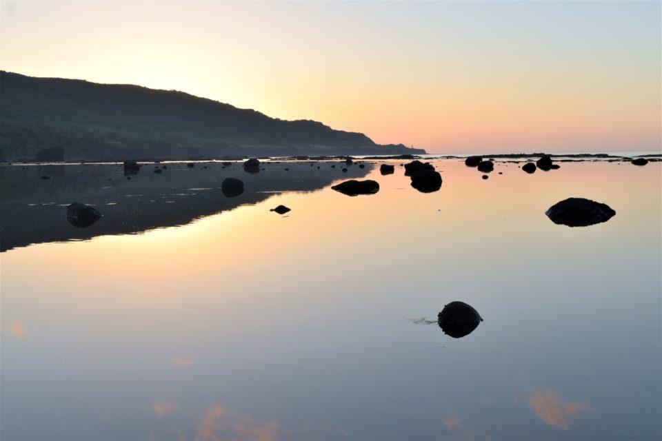 寿都湾から見る夕日